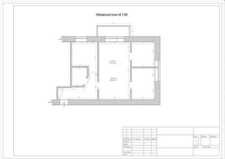 Перепланировка 2х комнатной хрущевки